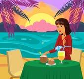Женщина имея обедающий на иллюстрации вектора пляжа бесплатная иллюстрация
