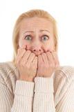Женщина имея страх стоковые изображения