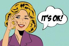 Женщина искусства шипучки милая ретро в стиле комиксов с сообщением Стоковая Фотография
