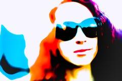 Женщина искусства шипучки с стеклами Стоковые Изображения