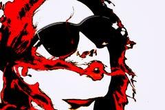 Женщина искусства шипучки с стеклами Стоковое фото RF