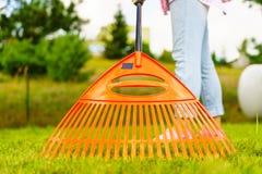 Женщина используя грабл для того чтобы очистить вверх лужайку сада Стоковое фото RF