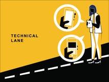 Женщина используя технические устройства на дороге иллюстрация вектора