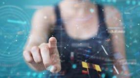 Женщина используя цифровой технологический интерфейс с переводом данных 3D стоковые изображения