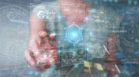 Женщина используя цифровой технологический интерфейс с переводом данных 3D стоковое фото
