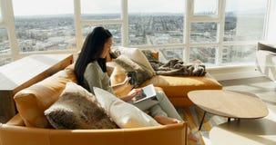 Женщина используя цифровую таблетку пока имеющ кофе в живущей комнате 4k акции видеоматериалы