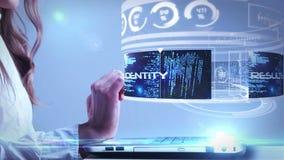 Женщина используя компьтер-книжку с вычисляя интерфейсом hologram иллюстрация вектора
