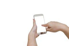 Женщина используя передвижной умный телефон изолированный на белой предпосылке, зажиме Стоковая Фотография
