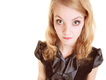 Женщина испуганной коммерсантки застенчивая Первый день в новой работе Стоковое Изображение