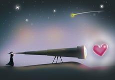 Женщина ищет для влюбленности Осматривать сердце через телескоп иллюстрация вектора