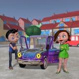 Женщина и автомобиль человека иллюстрация вектора