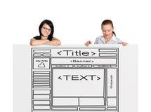 2 женщина и вебсайт шаблона Стоковое Изображение