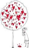 Женщина и дерево влюбленности Стоковое Изображение RF