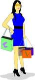 Женщина идет ходить по магазинам иллюстрация вектора