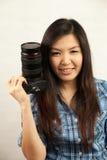 Женщина и камера Стоковое фото RF