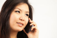Женщина и мобильный телефон Стоковые Фотографии RF