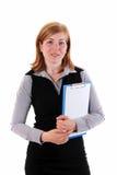 Женщина и доска сзажимом для бумаги стоковое изображение rf