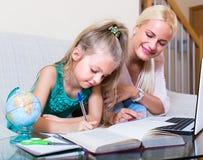 Женщина и ребенок имея урок внутри помещения Стоковые Изображения