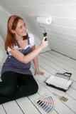 Женщина и ролик стоковое изображение rf