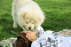 Женщина и собака чау-чау чау-чау смотрят один другого Стоковые Изображения RF