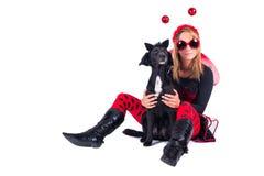 Женщина и собака Стоковая Фотография