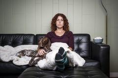 Женщина и собака Стоковые Фотографии RF