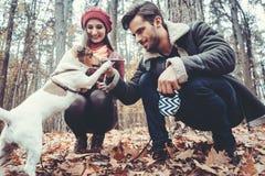 Женщина и человек идя их собака бросая ручку стоковые фото