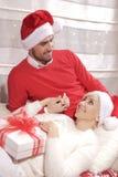 Женщина и человек в рождестве Стоковые Изображения