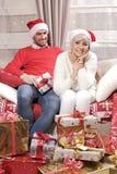 Женщина и человек в рождестве Стоковое Изображение