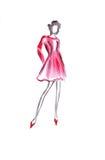 Женщина иллюстрации тонкая высокая в красном коротком платье Стоковые Изображения RF