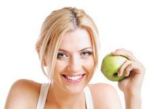 Женщина и яблоко Стоковая Фотография