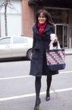 Женщина идя в Нью-Йорк во время сезона зимы Стоковое Фото