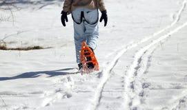 Женщина идя с оранжевыми snowshoes в зиме Стоковое фото RF