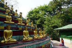 Женщина и buddhas стоковые фото