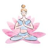 Женщина йоги, представление в гигантский цветок лотоса, метод лотоса милой маленькой девочки практикуя акварели бесплатная иллюстрация