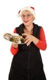 женщина кавказского рождества торта традиционная Стоковые Фотографии RF