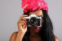 женщина камеры Стоковая Фотография