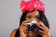 женщина камеры Стоковое Изображение RF