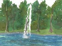 женщина картины фонтана Стоковая Фотография