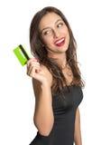 женщина карточки изолированная кредитом белая Стоковое Изображение RF