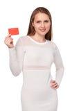 женщина карточки изолированная кредитом белая Стоковое Изображение
