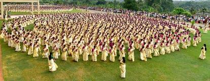 Женщина Кералы в торжестве танца, стоковые фотографии rf