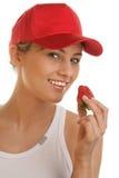 женщина клубники Стоковое Изображение RF