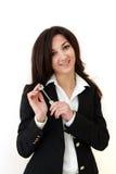 женщина ключа удерживания руки дела стоковые изображения rf