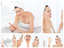 женщина коллажа брюнет шикарная Стоковые Изображения RF