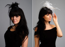 женщина комплекта bonnet шикарная милая Стоковое Изображение RF