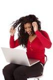 женщина компьютера афроамериканца сумашедшая Стоковое фото RF