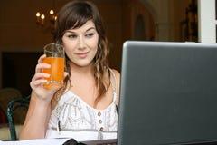 женщина компьютера брюнет симпатичная Стоковое Фото