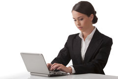 женщина компьютера работает детеныши Стоковая Фотография
