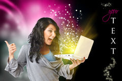 женщина компьютера счастливая Стоковое Изображение RF